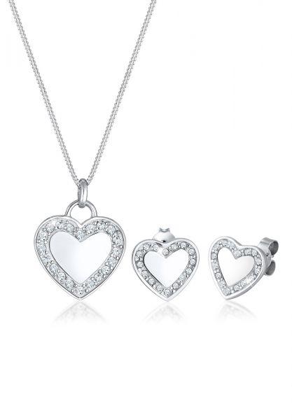 Elli Schmuckset Herz Love Kristalle 925 Silber