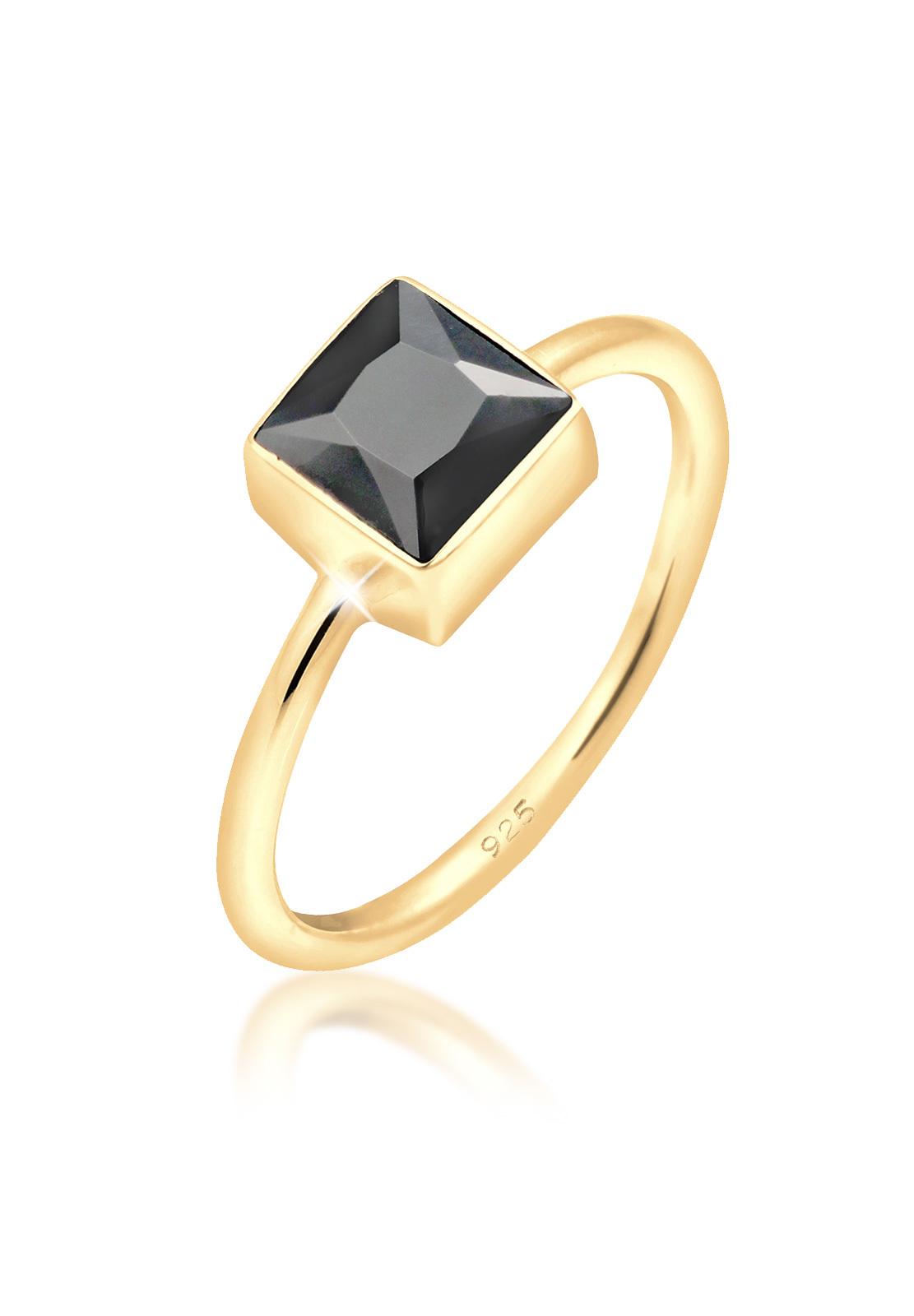 Ring   Zirkonia ( Schwarz )   925 Sterling Silber vergoldet