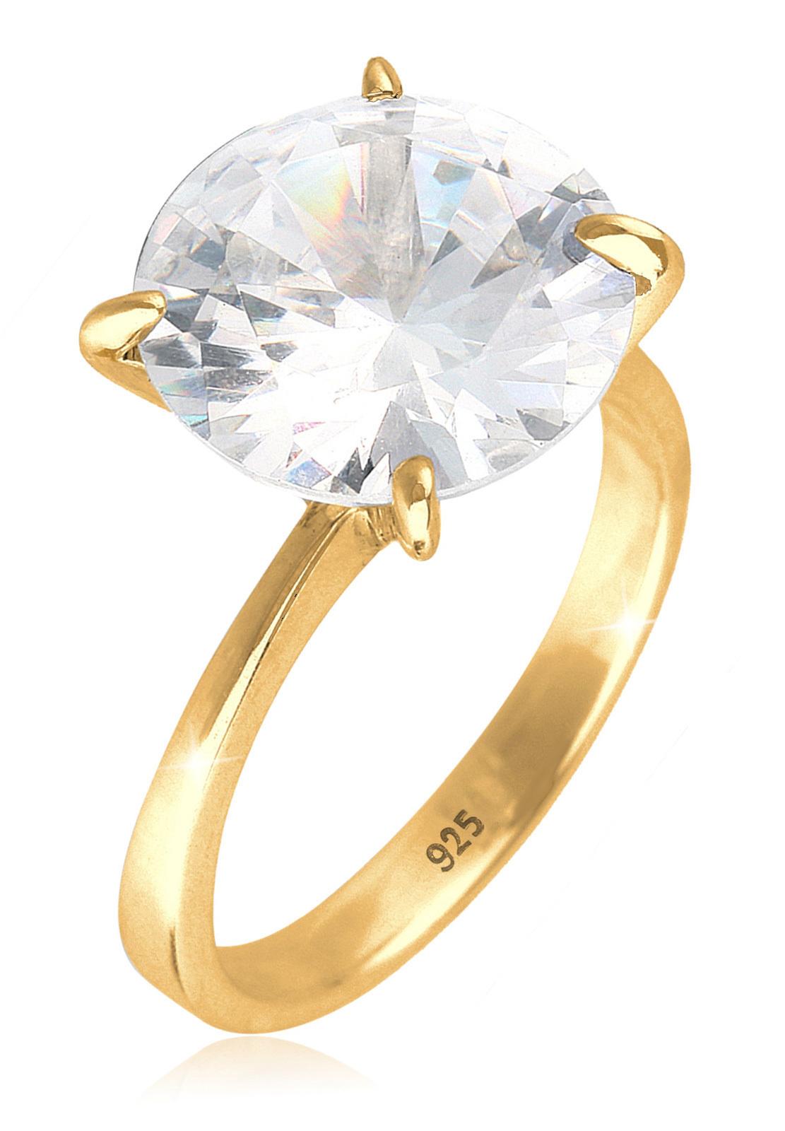 Ring   Zirkonia ( Weiß )   925 Sterling Silber vergoldet