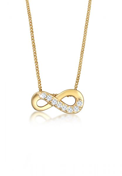 Elli PREMIUM Halskette Infinity Unendlich Liebe Topas 585 Gelbgold