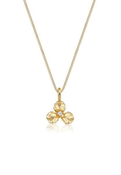 Halskette Blume | Diamant ( Weiß, 0,015 ct ) | 585 Gelbgold
