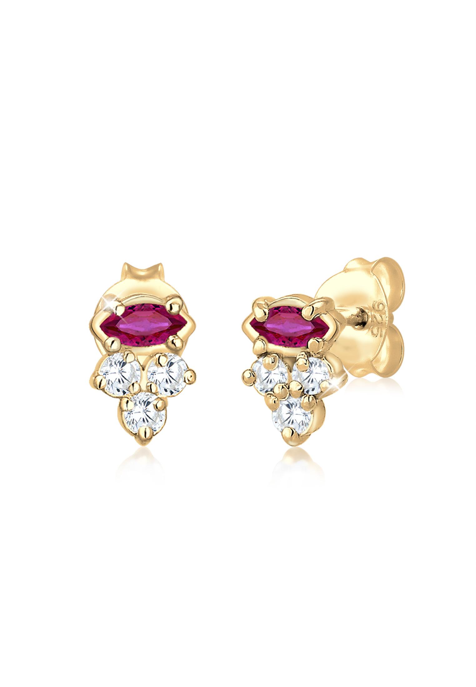 Ohrstecker | Rubin ( Pink ) | 925 Sterling Silber vergoldet