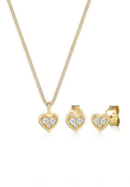 DIAMORE Schmuckset Herz Liebe Valentin Diamant (0.105ct) 585 Gelbgold