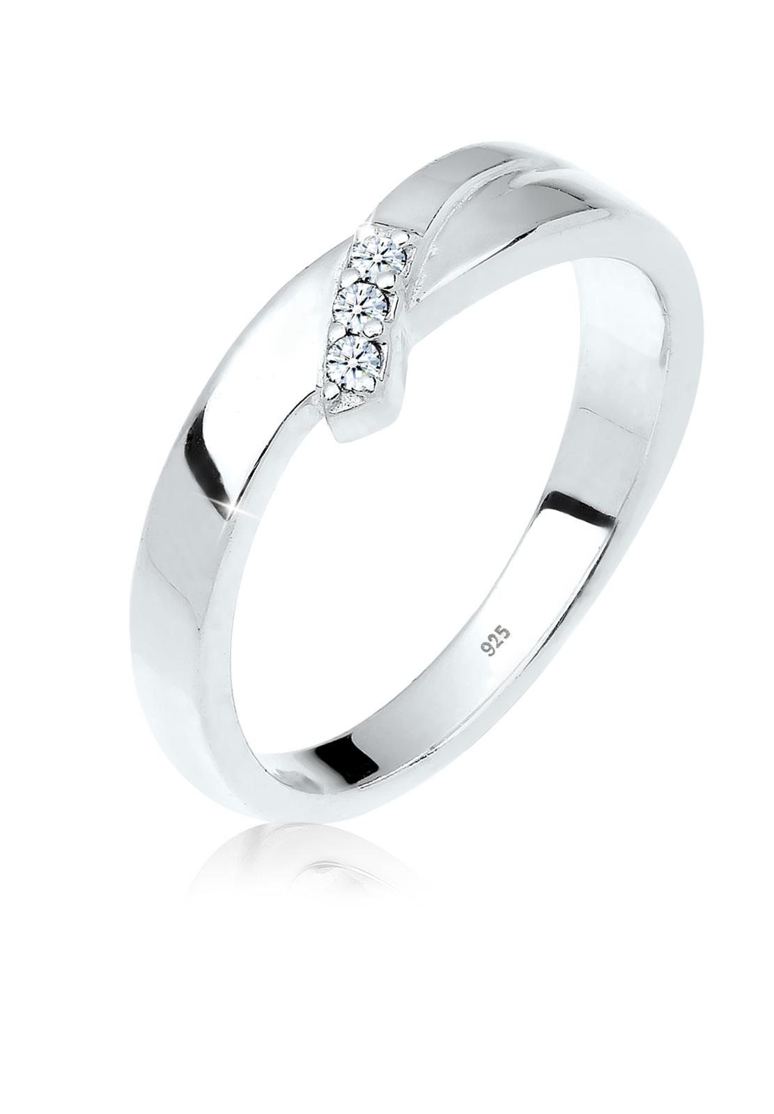 Verlobungsring   Diamant ( Weiß, 0,045 ct )   925er Sterling Silber