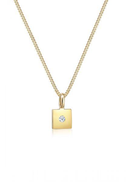 DIAMORE Halskette Viereck Anhänger Diamant (0.015 ct) 585er Gelbgold