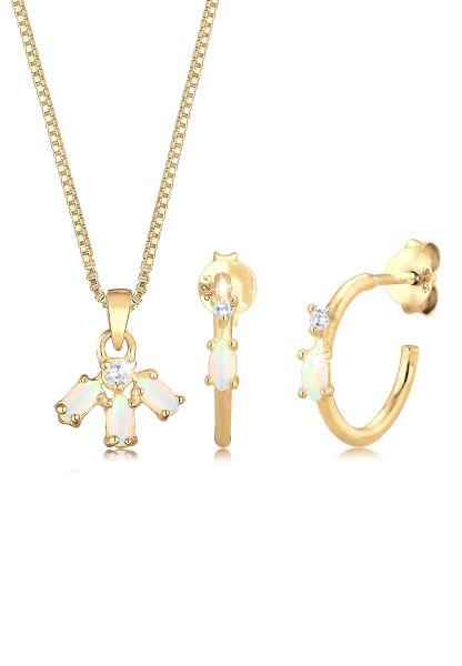 Venezianer-Schmuckset | Opal ( Weiß ) | 925 Sterling Silber vergoldet