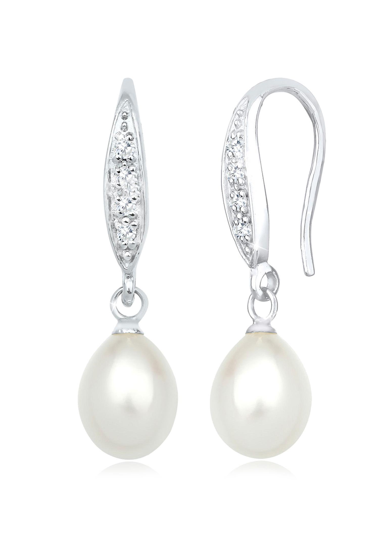 Ohrhänger | Süßwasserperle, Zirkonia ( Weiß ) | 925er Sterling Silber