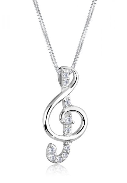 Elli Halskette Notenschlüssel Zirkonia 925 Sterling Silber