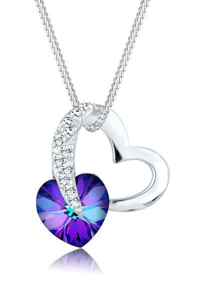 Elli Halskette Herz Kristalle Silber