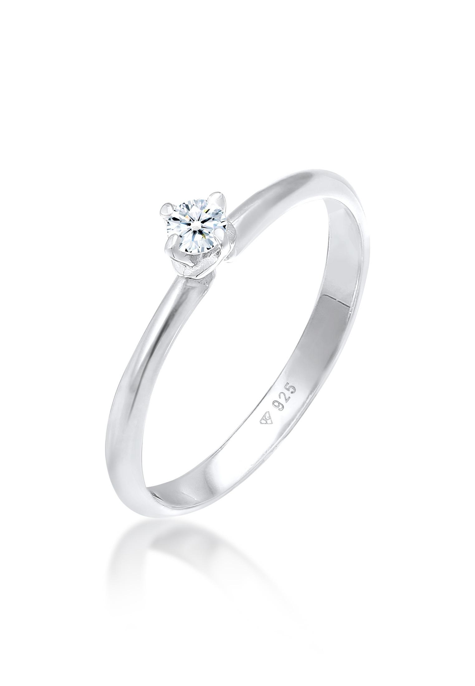 Verlobungsring Solitär Klassisch | Diamant (0.11 ct.) | 925er Sterling Silber