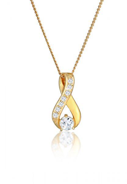 Halskette Infinity   Topas ( Weiß )   585 Gelbgold
