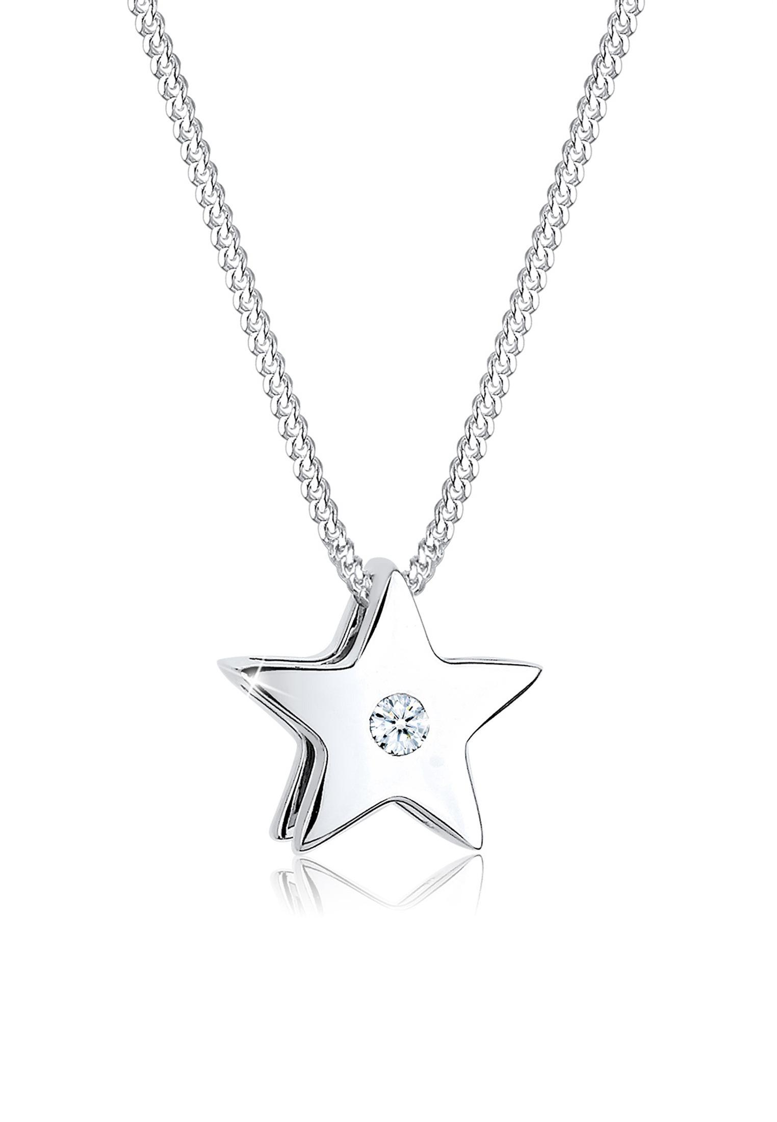 Halskette Stern | Diamant ( Weiß, 0,03 ct ) | 925er Sterling Silber