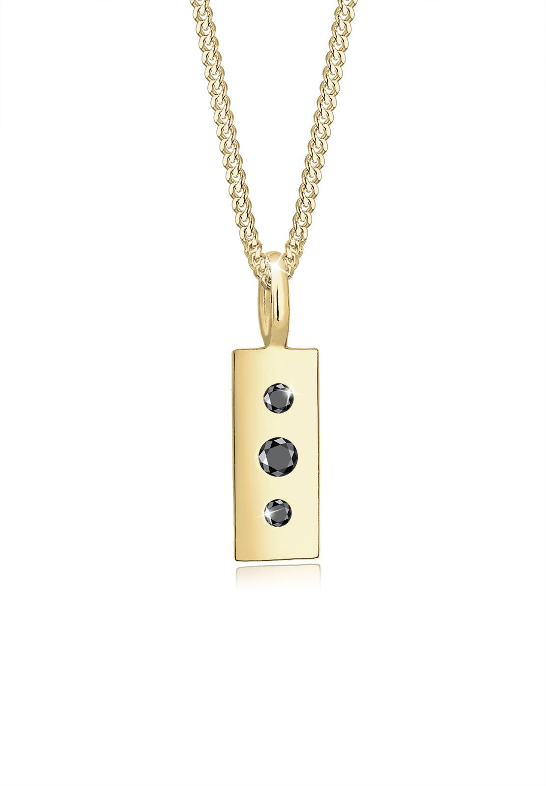Halskette | Diamant ( Schwarz, 0,06 ct ) | 375 Gelbgold