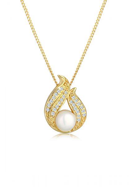 Halskette | Süßwasserperle, Diamant ( Weiß, 0,13 ct ) | 585 Gelbgold