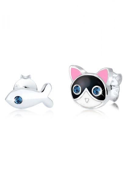 Elli Ohrringe Kinder Katze Fisch Kristalle 925 Silber