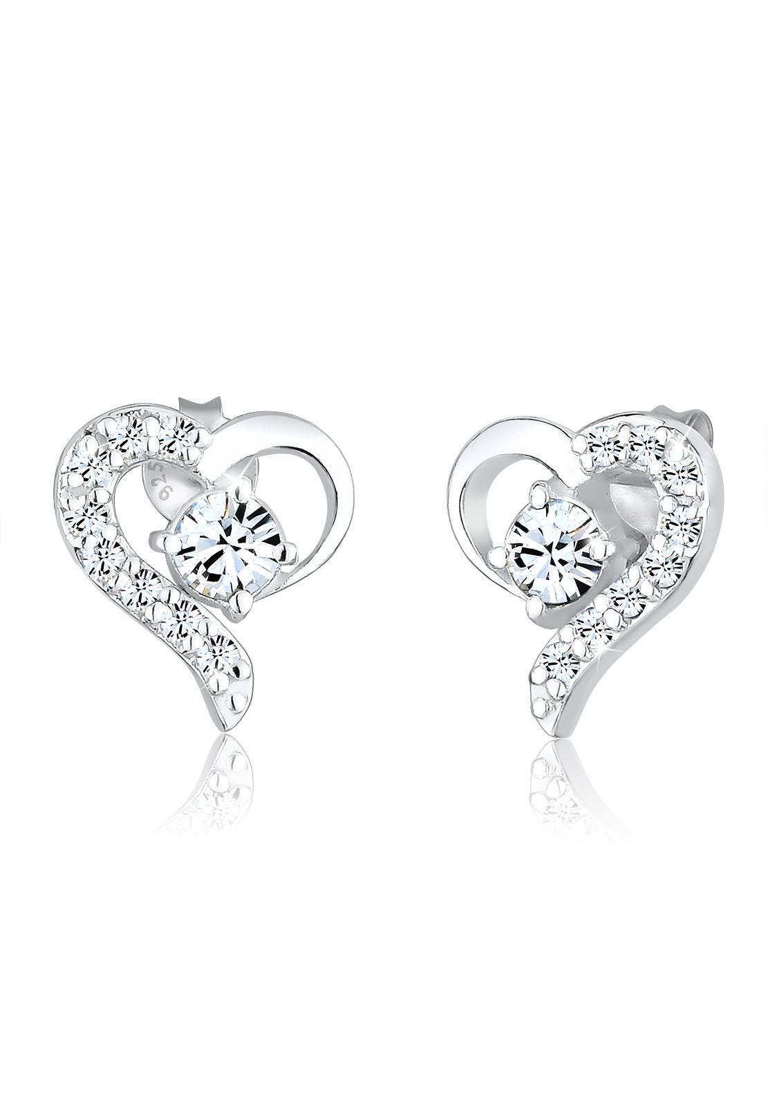Ohrstecker Herz | Kristall ( Weiß ) | 925er Sterling Silber