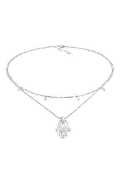 Elli Halskette Choker Plättchen Fatimas Hand Zirkonia 925 Silber