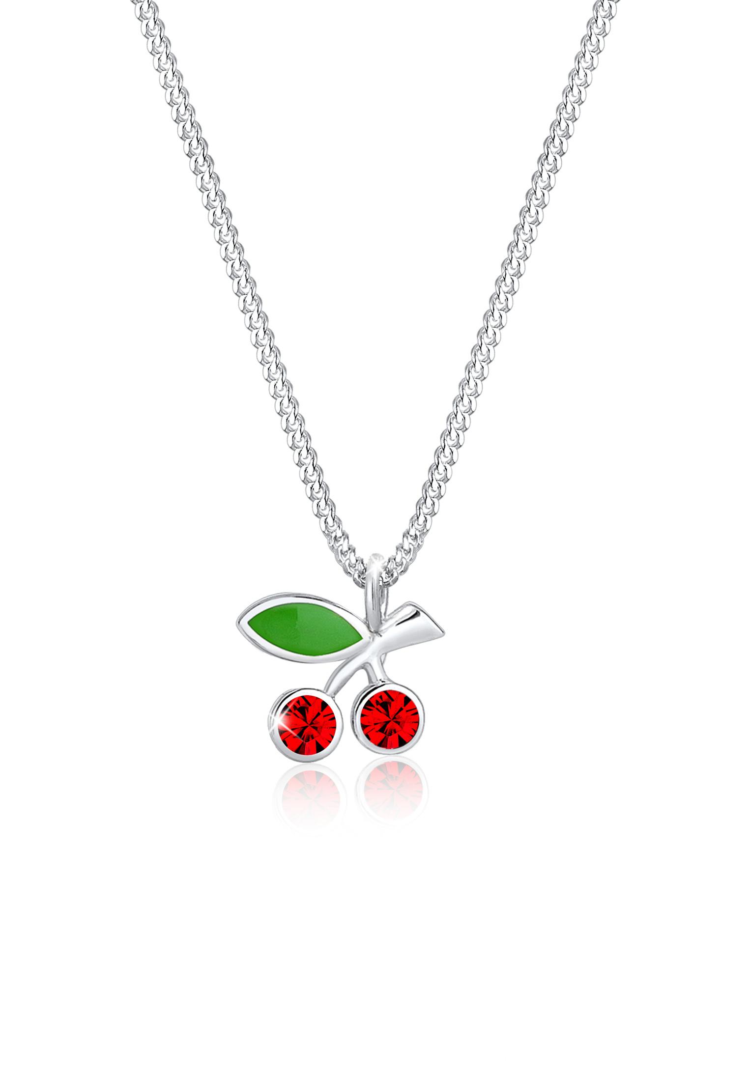 Halskette Kirsche   Kristall ( Rot )   925er Sterling Silber