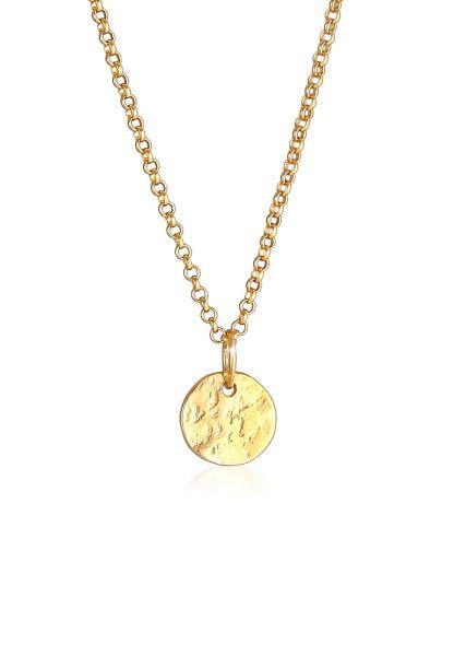 Elli PREMIUM Halskette Plättchen Coin Münze Vintage Antike 375 Gelbgold