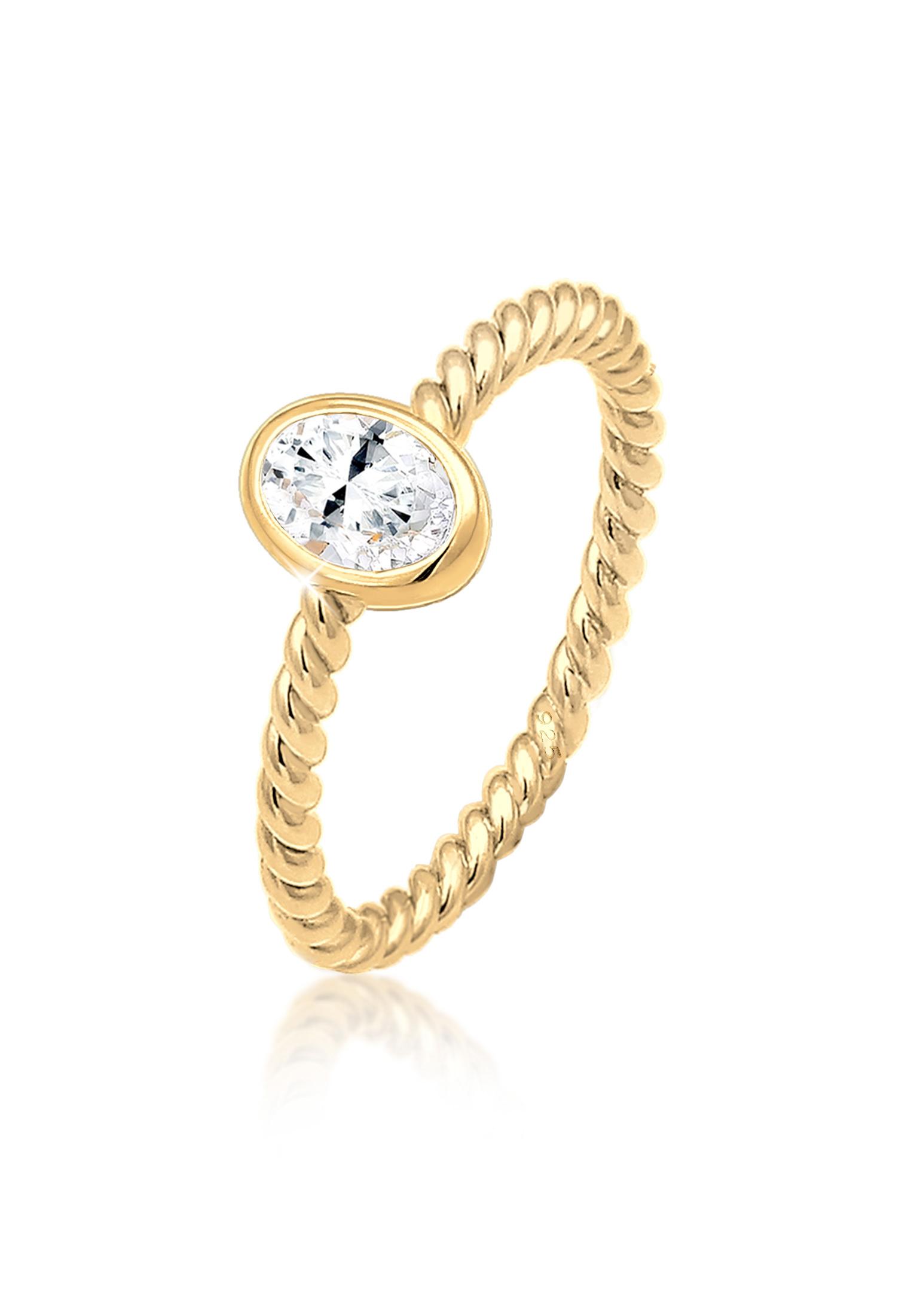 Verlobungsring | Topas ( Weiß ) | 925 Sterling Silber vergoldet