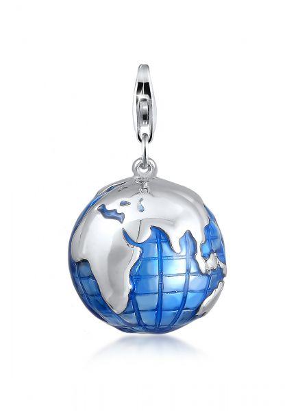 Nenalina Charm Anhänger Globus Weltkugel Emaille 925 Silber