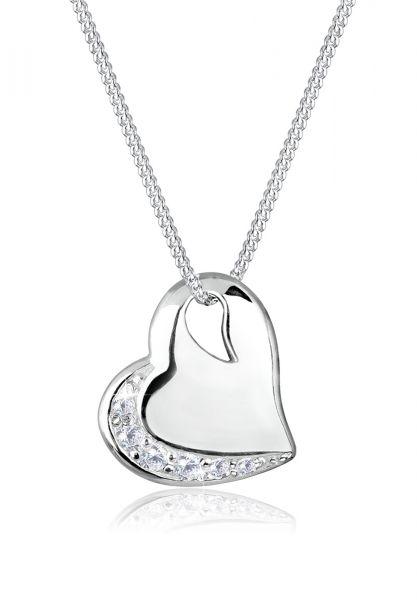 Elli Halskette Herz Liebe Zirkonia Edelstein 925 Silber