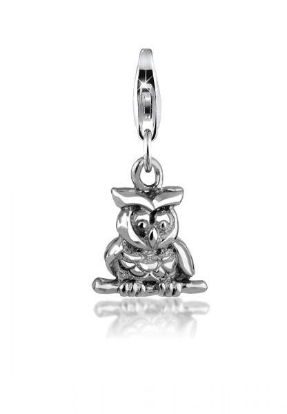 Nenalina Charm Eulen-Anhänger Boho Basic Kettencharm 925er Silber