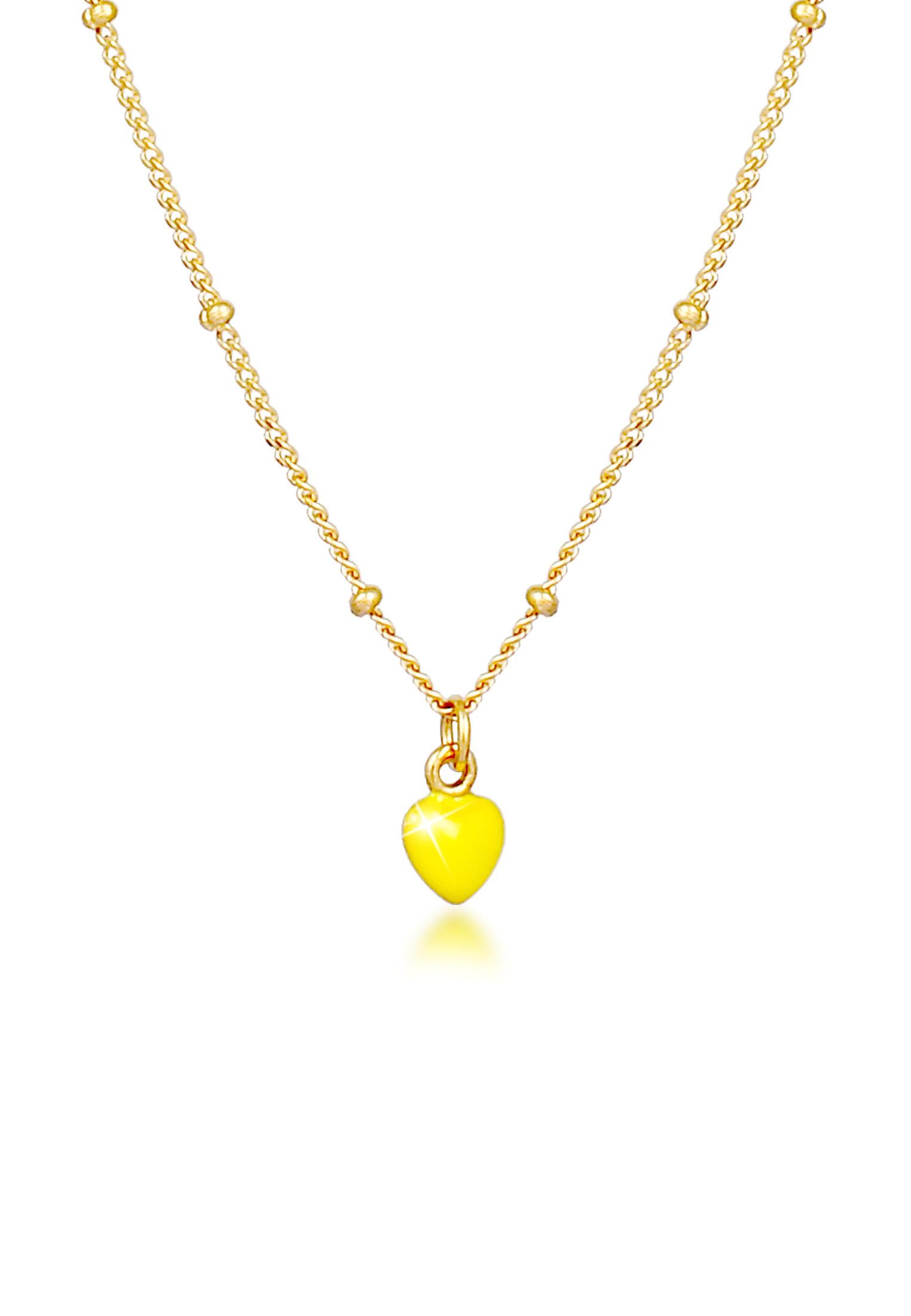 Kugel-Halskette Herz | 925 Sterling Silber vergoldet