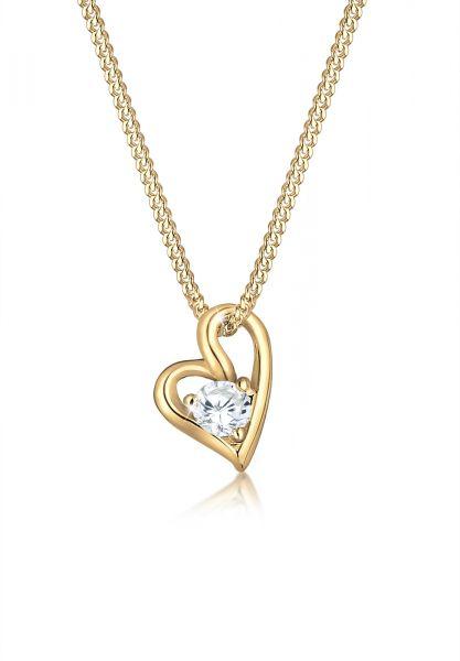 Halskette Herz   Zirkonia ( Weiß )   585 Gelbgold
