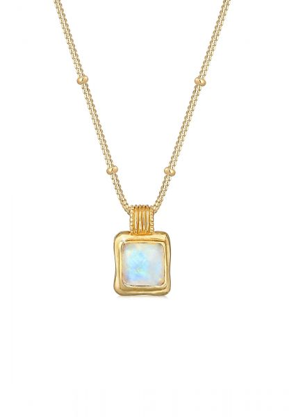 Kugel-Halskette   Mondstein ( Weiß )   925 Sterling Silber vergoldet