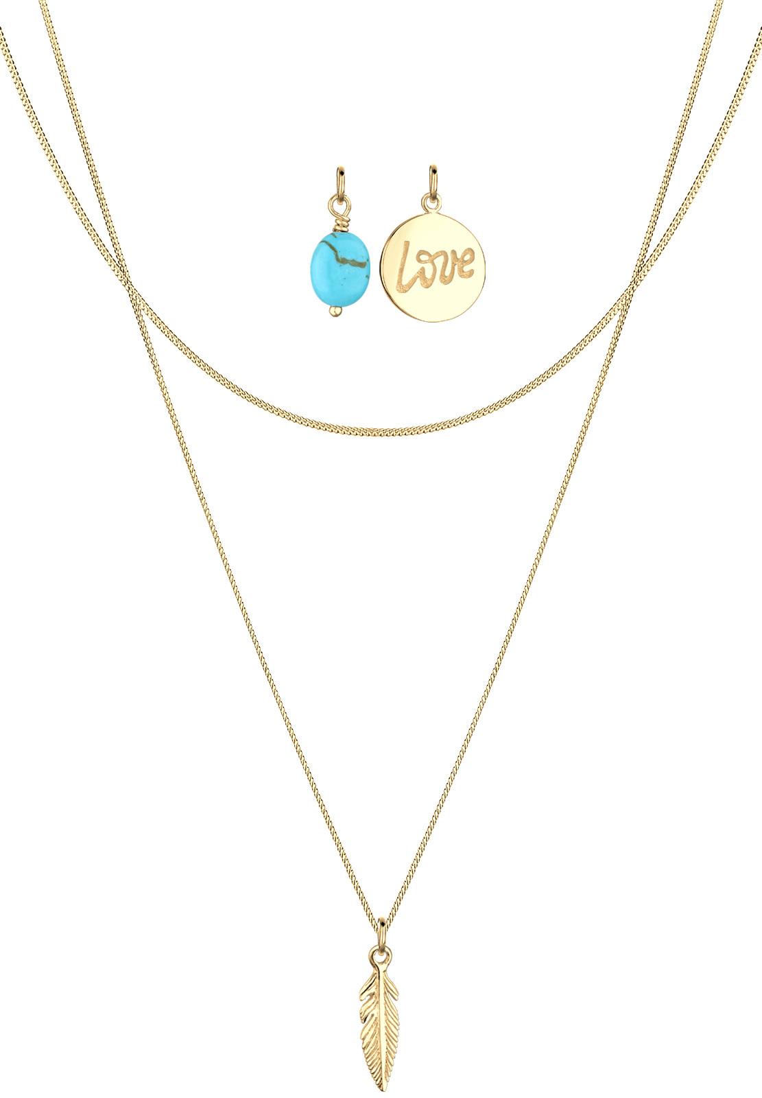 Halskettenset Feder   Howlith ( Türkis )   925 Sterling Silber vergoldet