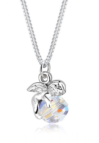 Elli Halskette Engel Kugel Flügel Kristall Silber
