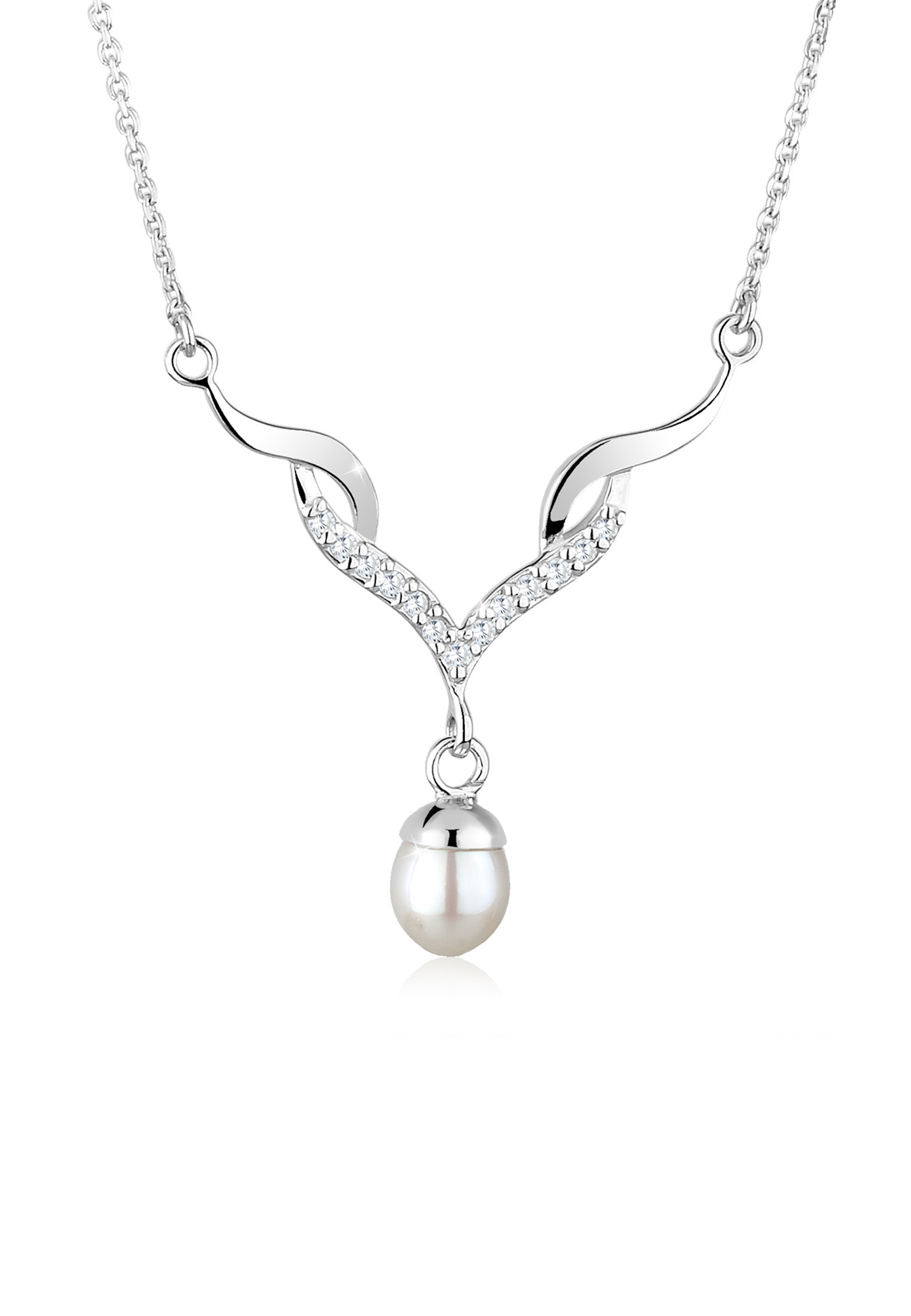 Halskette | Süßwasserperle, Zirkonia ( Weiß ) | 925er Sterling Silber
