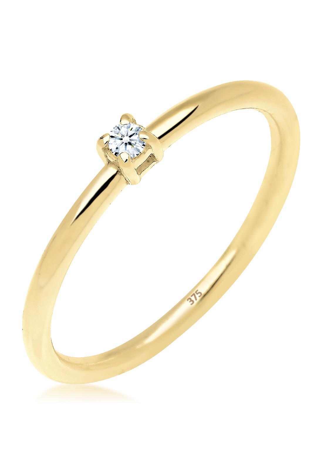Verlobungsring | Diamant ( Weiß, 0,03 ct ) | 375 Gelbgold