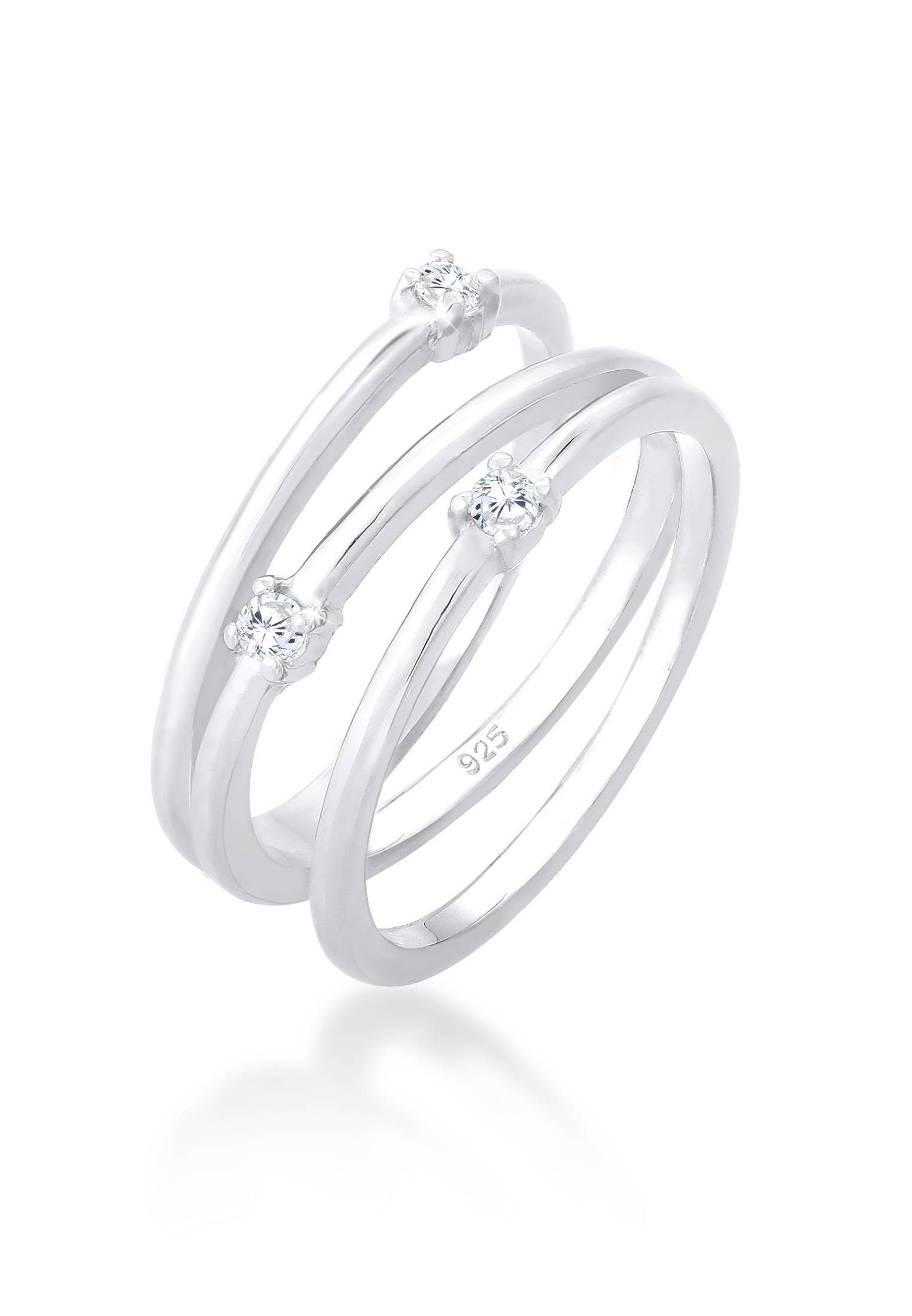 Ring Spirale | Zirkonia ( Weiß ) | 925er Sterling Silber