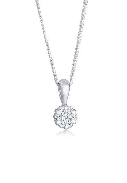 Elli DIAMONDS Halskette Blume Brilliant Diamant (0.12 ct.) 925 Silber