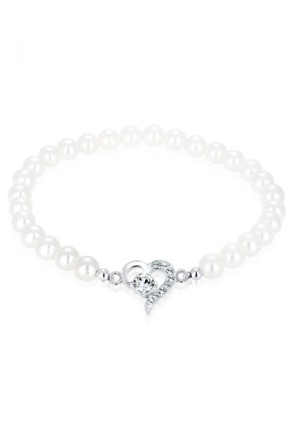 Armband Herz | Perle, Kristall ( Weiß ) | 925er Sterling Silber
