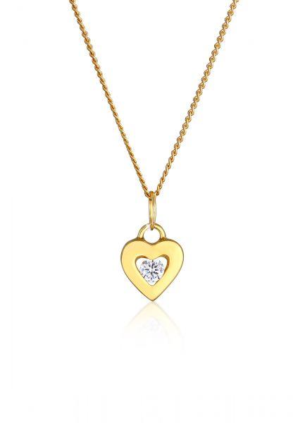 Halskette Herz | Zirkonia ( Weiß ) | 585 Gelbgold