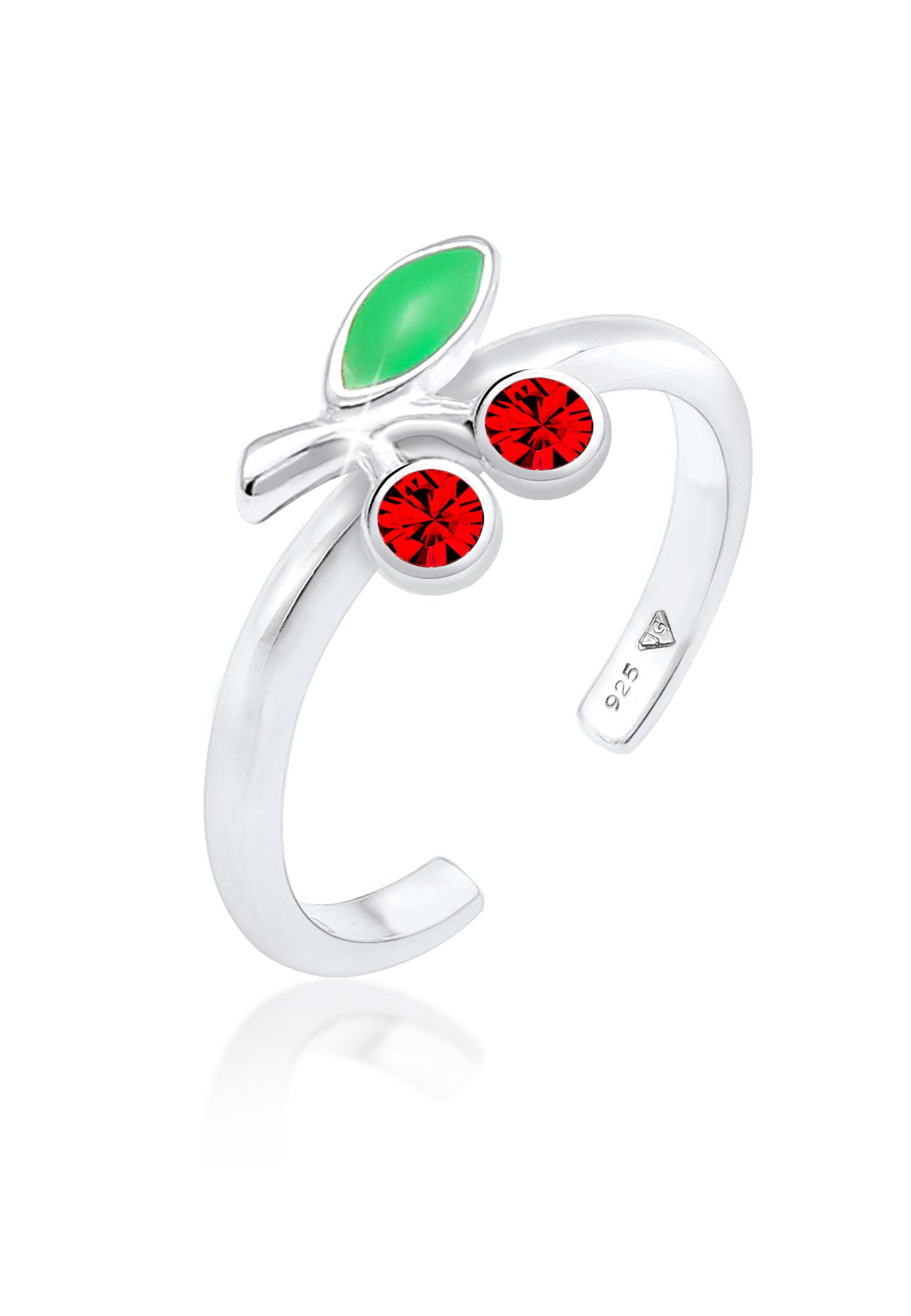 Ring Kirsche   Kristall ( Rot )   925er Sterling Silber
