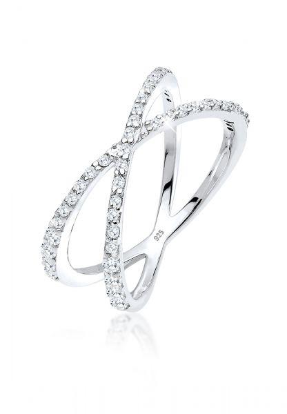 Elli Ring Kreuz Symbol Zirkonia 925 Sterling Silber