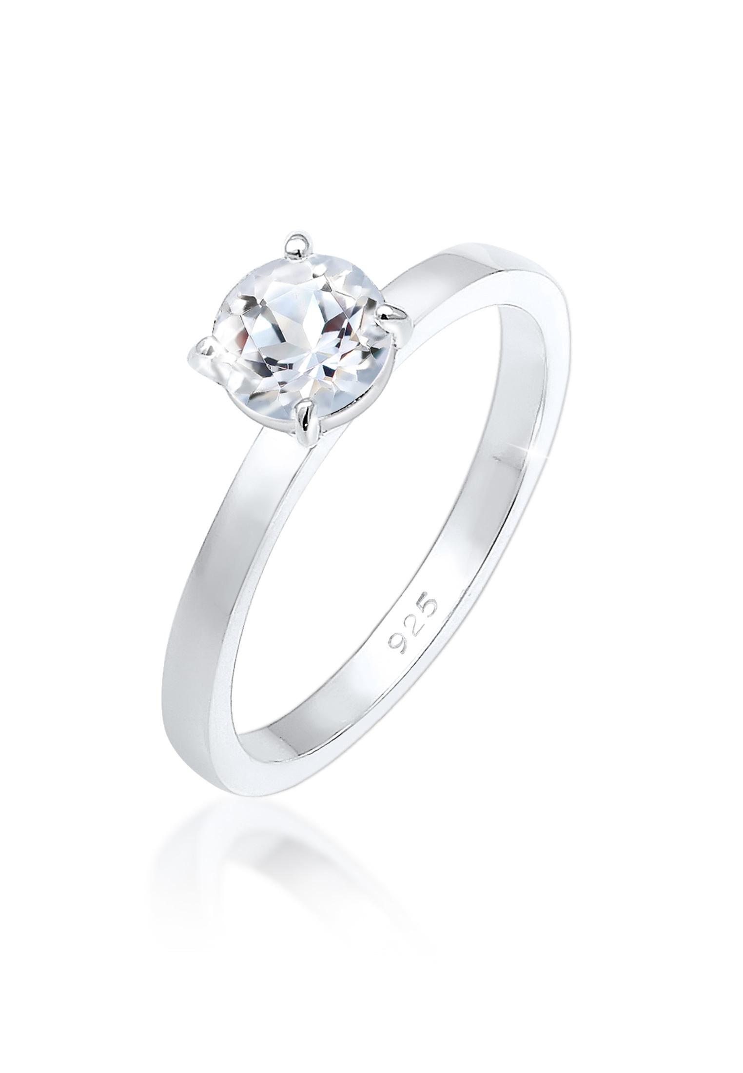 Verlobungsring   Topas ( Weiß )   925er Sterling Silber