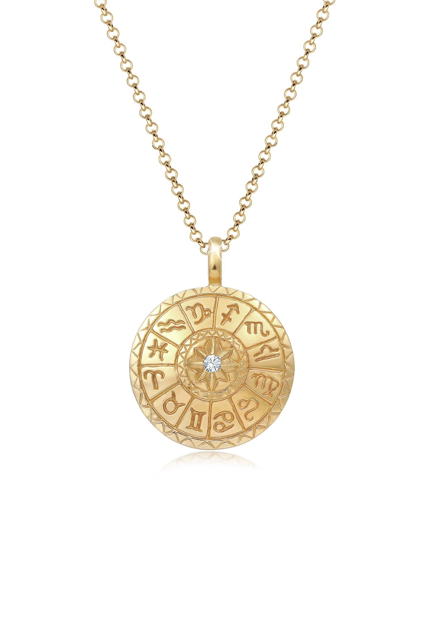 Halskette Astro   Kristall ( Weiß )   925 Sterling Silber vergoldet