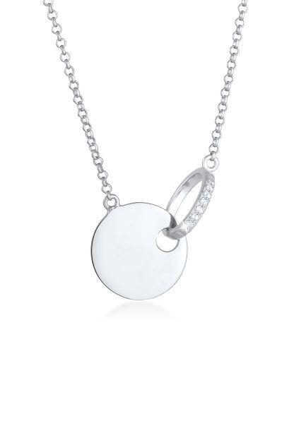 Elli DIAMONDS Halskette Plättchen Kreis Diamanten (0.035 ct.) 925 Silber