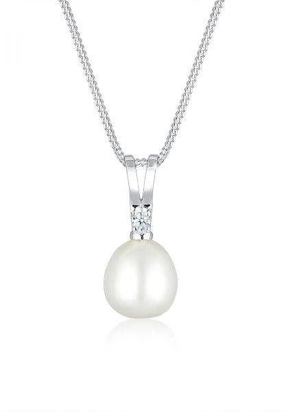 Halskette   Süßwasserperle, Diamant ( Weiß, 0,03 ct )   925er Sterling Silber