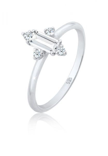Elli PREMIUM Ring Verlobung Edel Topas Diamant (0.06 ct.) 925 Silber