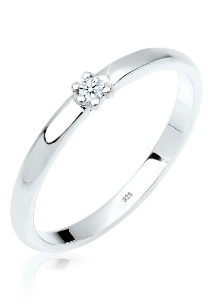 DIAMORE Ring Verlobungsring Diamant 0.03 ct. 925er Silber
