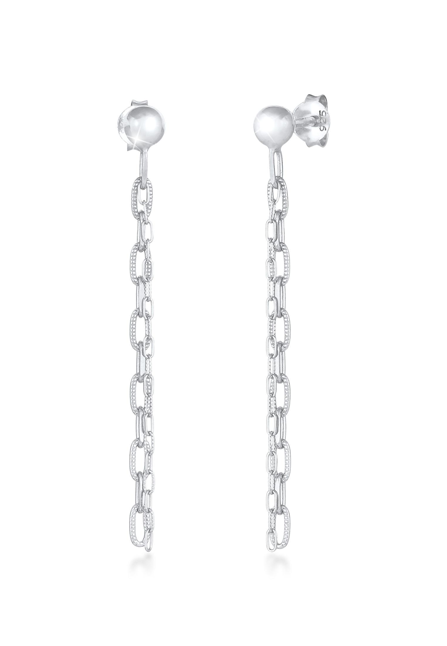 Glieder-Ohrstecker Ear Chain   925er Sterling Silber