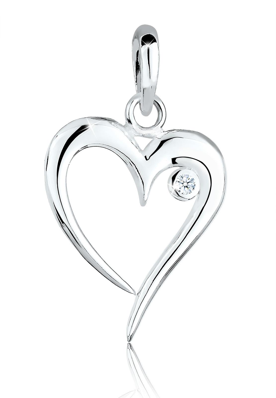 Anhänger Herz | Diamant ( Weiß, 0,03 ct ) | 925er Sterling Silber