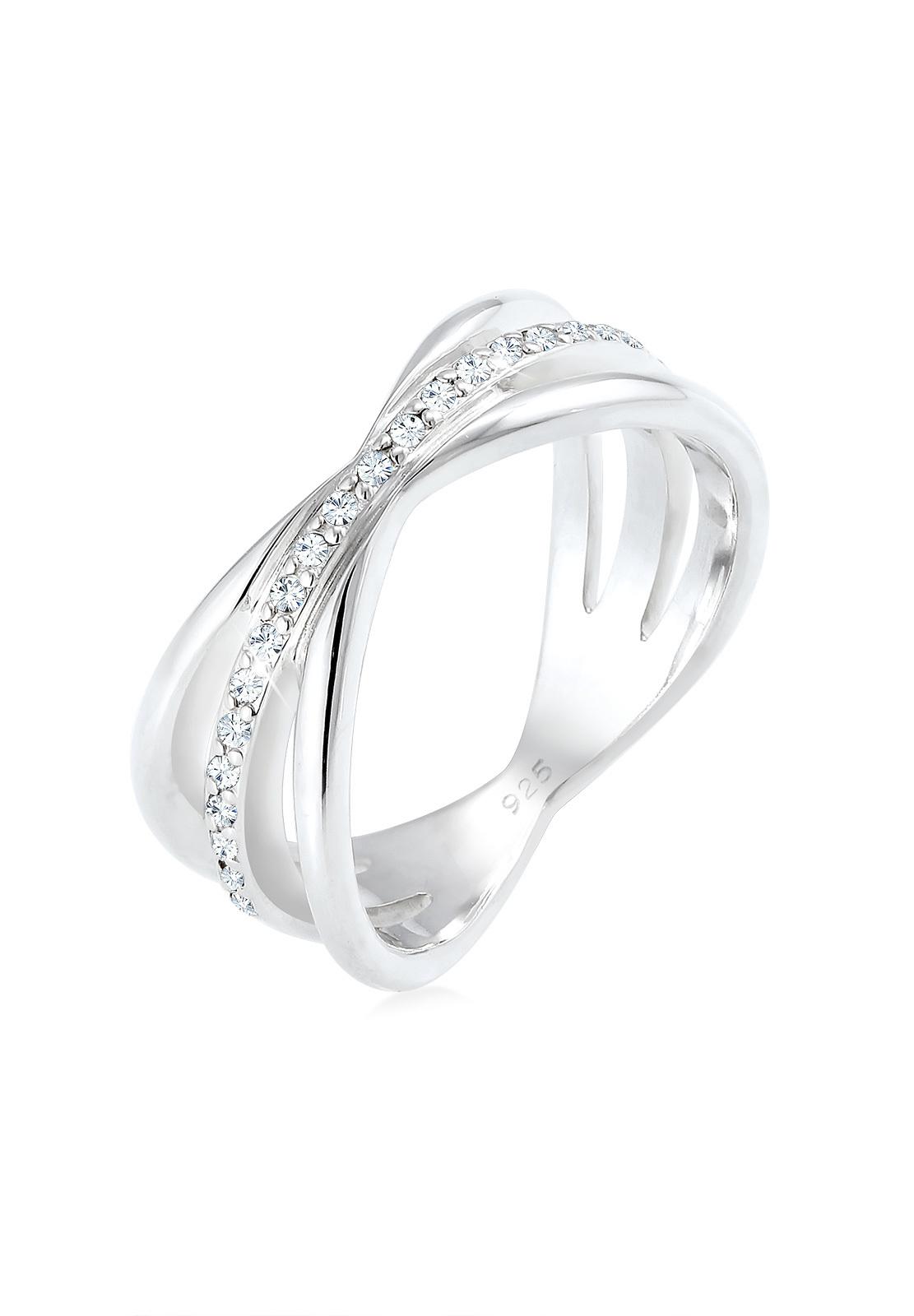 Wickelring   Kristall ( Weiß )   925er Sterling Silber