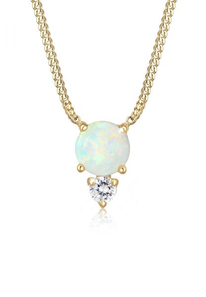Halskette   Opal ( Weiß )   925 Sterling Silber vergoldet